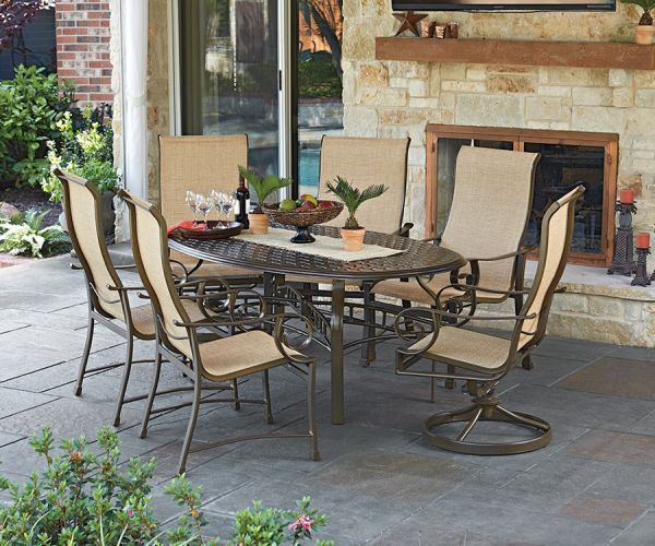 Woodard Santa Monica Sling 7 pc Dining Set