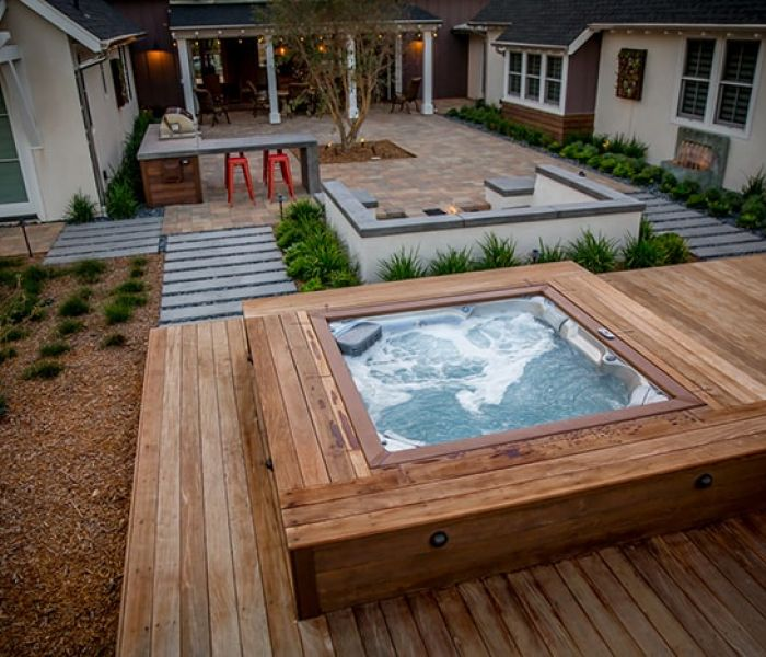 Outdoor Jacuzzi® Hot Tub Installation Backyard Clarence New York