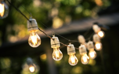 Outdoor string lights hanging up.