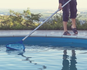 Person cleaning swimming pool.